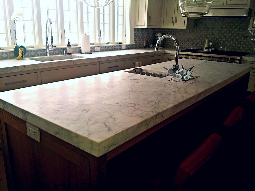 Thick Marble Countertop with Marble Sinks