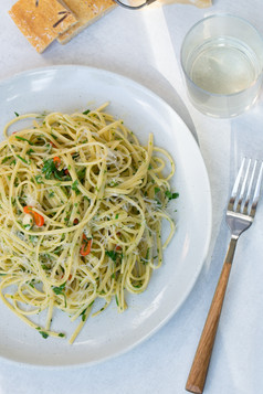 Pasta with Parsley, Chilies, Lemon and Parmesan