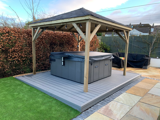 3m x 3m gazebo, hot tub and decking