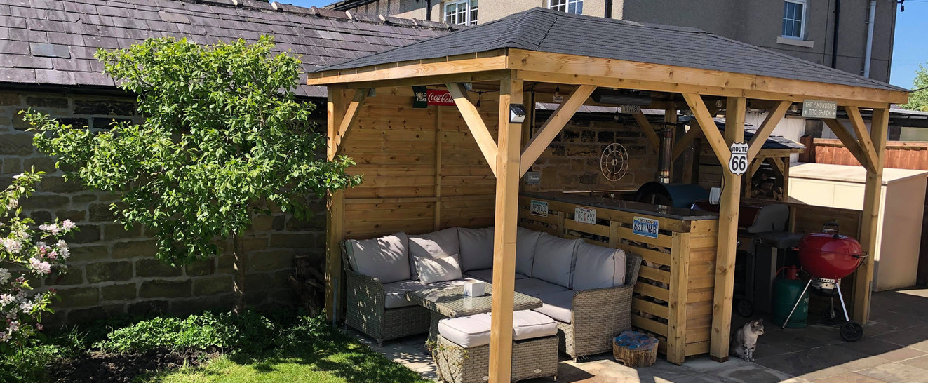 Outdoor cooking and seating area