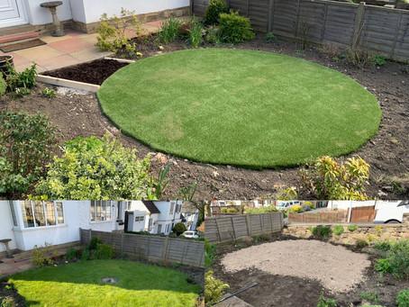 Artificial grass installation process.
