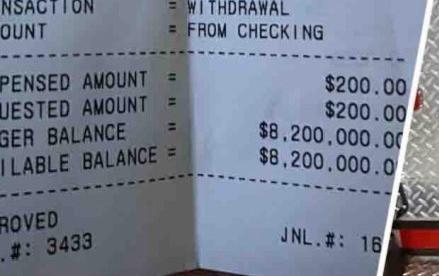 """Fue a retirar ayuda federal y el ATM le mostró un  saldo millonario $8,200,000?"""""""