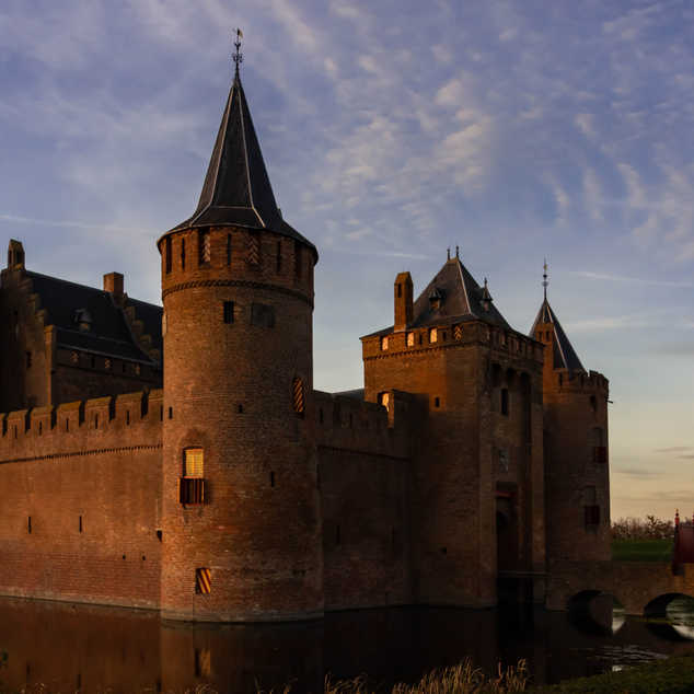 Muiderslot Castle at dusk in Muiden, The