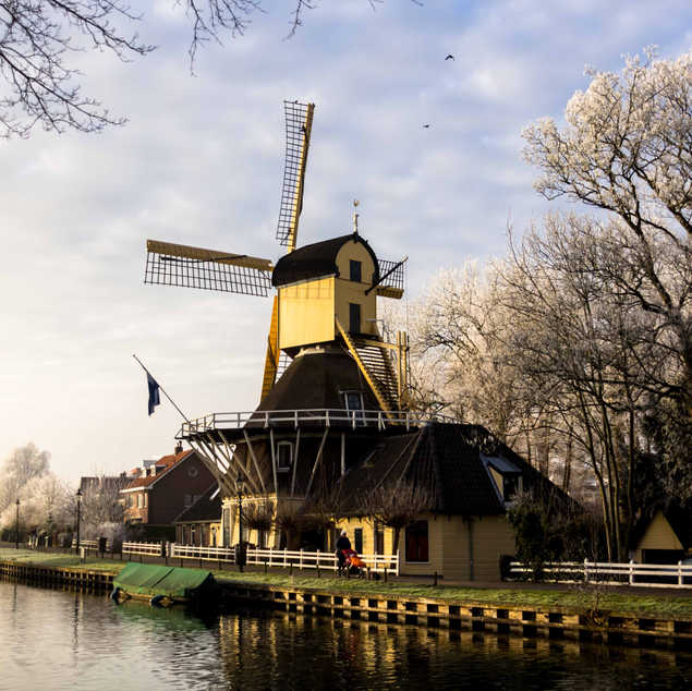 Dutch windmill on a frosty day in Weesp,