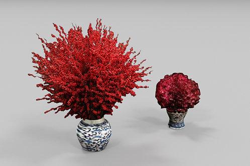 Cherry Vase and Flower Vase