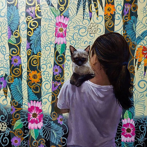 Girl and Cat Looking Back