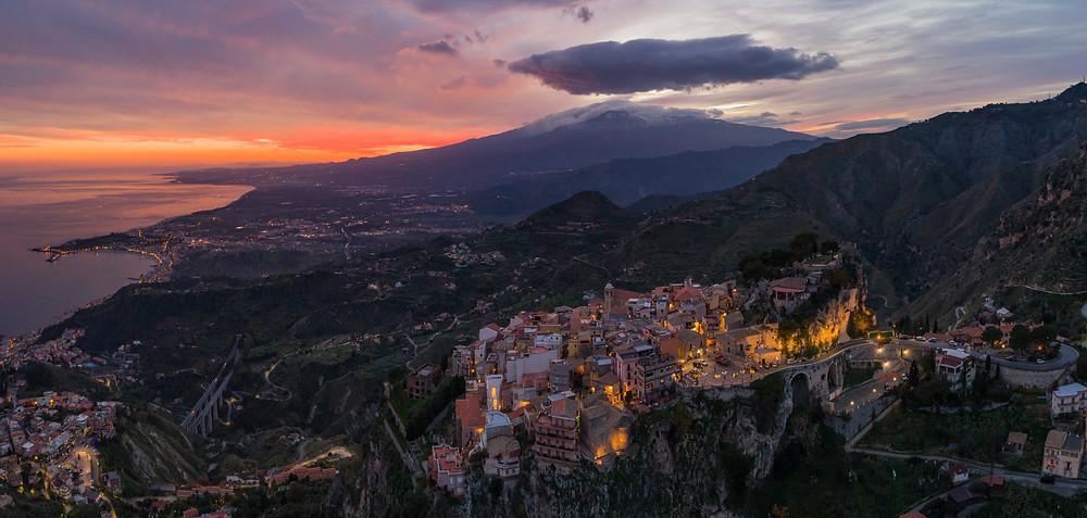 Castelmola ( ME )  photo aerea con Etna sulla sfondo Credit: Andrea Strazz (axsaerialshots)