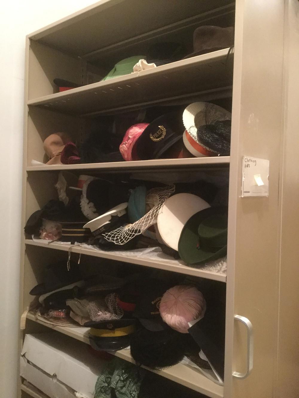 A shelf of hats, November 2017
