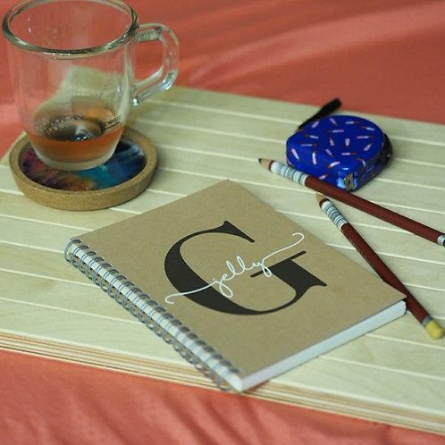 Personalised Monogram Double Ring Plain Notebook