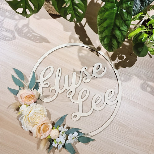 Floral Name Sign in Peach Blush