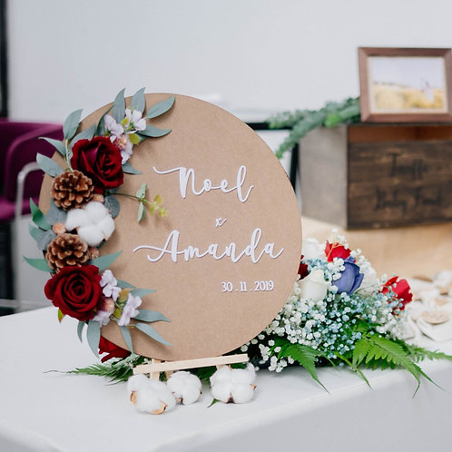 Rustic Faux Floral Wedding Table Top Signage
