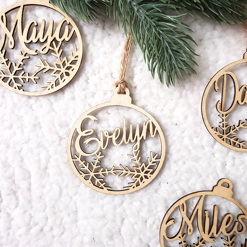 Personalised Name Bauble in Birch