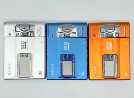 Sony MZ-R50 MiniDisc Recorders in Blue, Silver and Orange