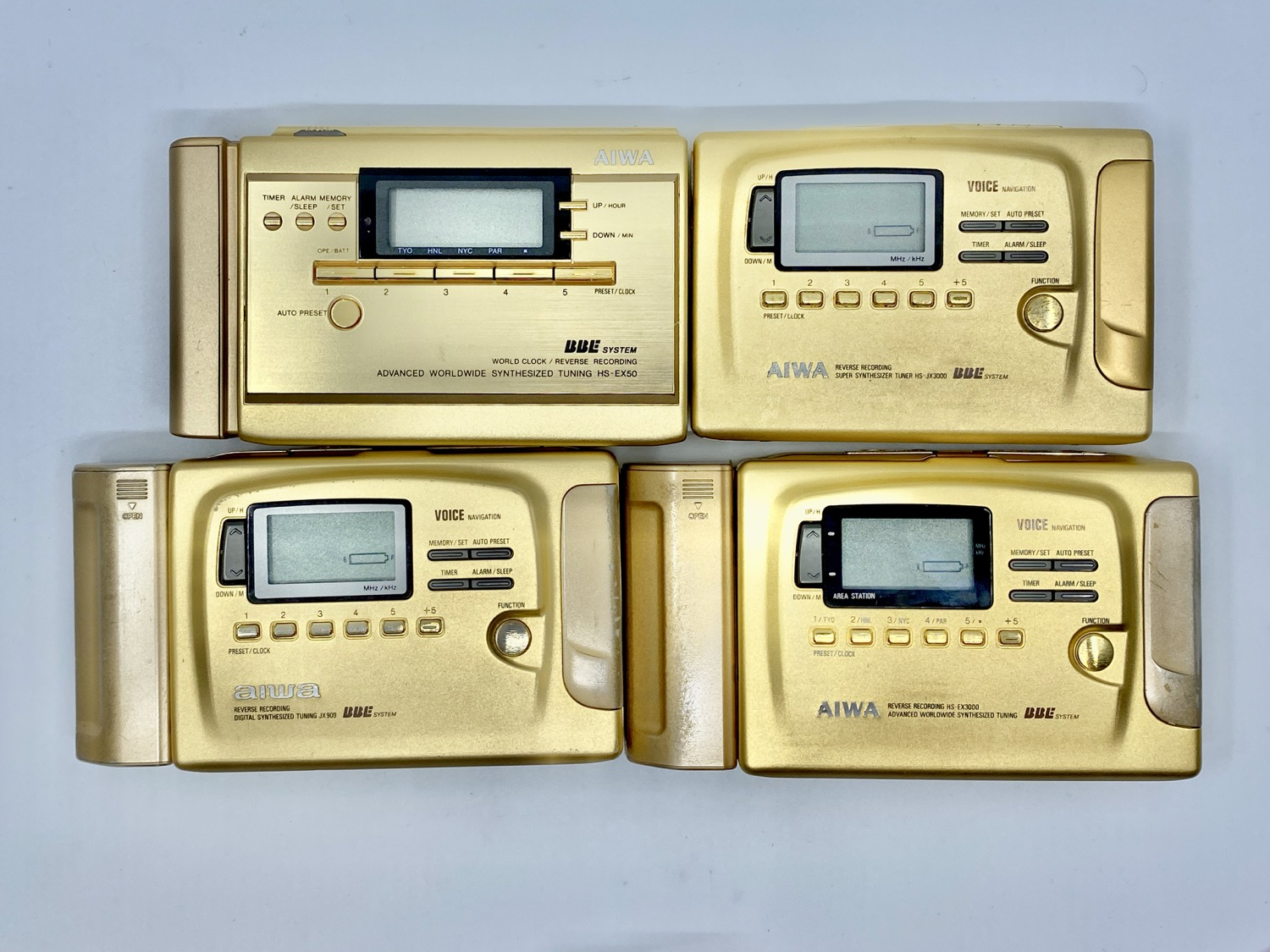 Aiwa Gold Portable Cassette Player Collection