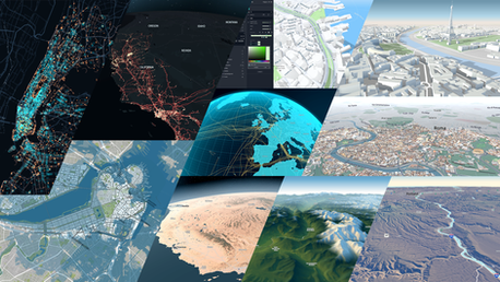Snapshots of various work demonstrating the flexible real-time interaction and visualizations possible when leveraging HERE's proprietary rendering engine and map content.