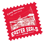 Camp Woodeden stamp with a single-colour image of the high ropes course
