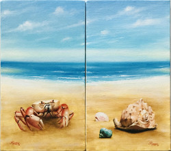 Paisagens de Praia com Carangueijo e Conchas, Rafael Guerra Pintura