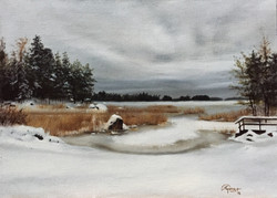 A Lake in Finland During Winter 2, Rafael Guerra Painting