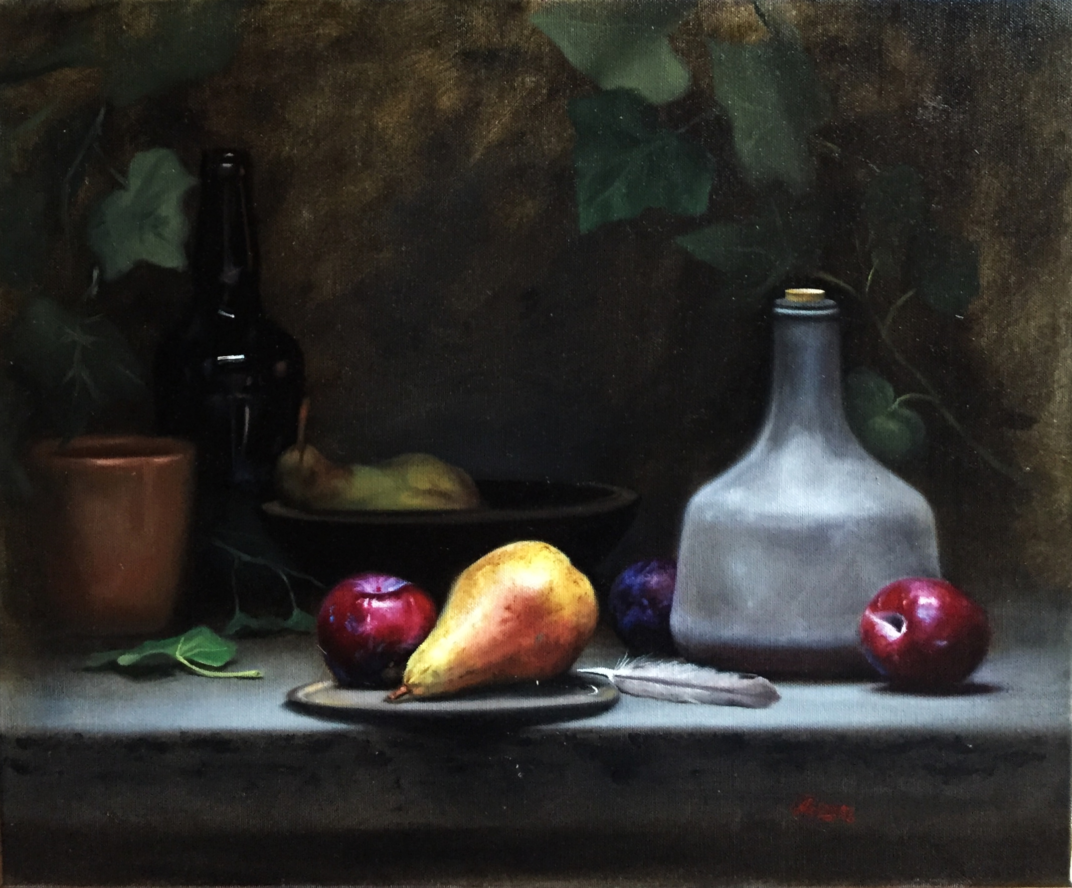 Pear and Plums, Rafael Guerra Painting