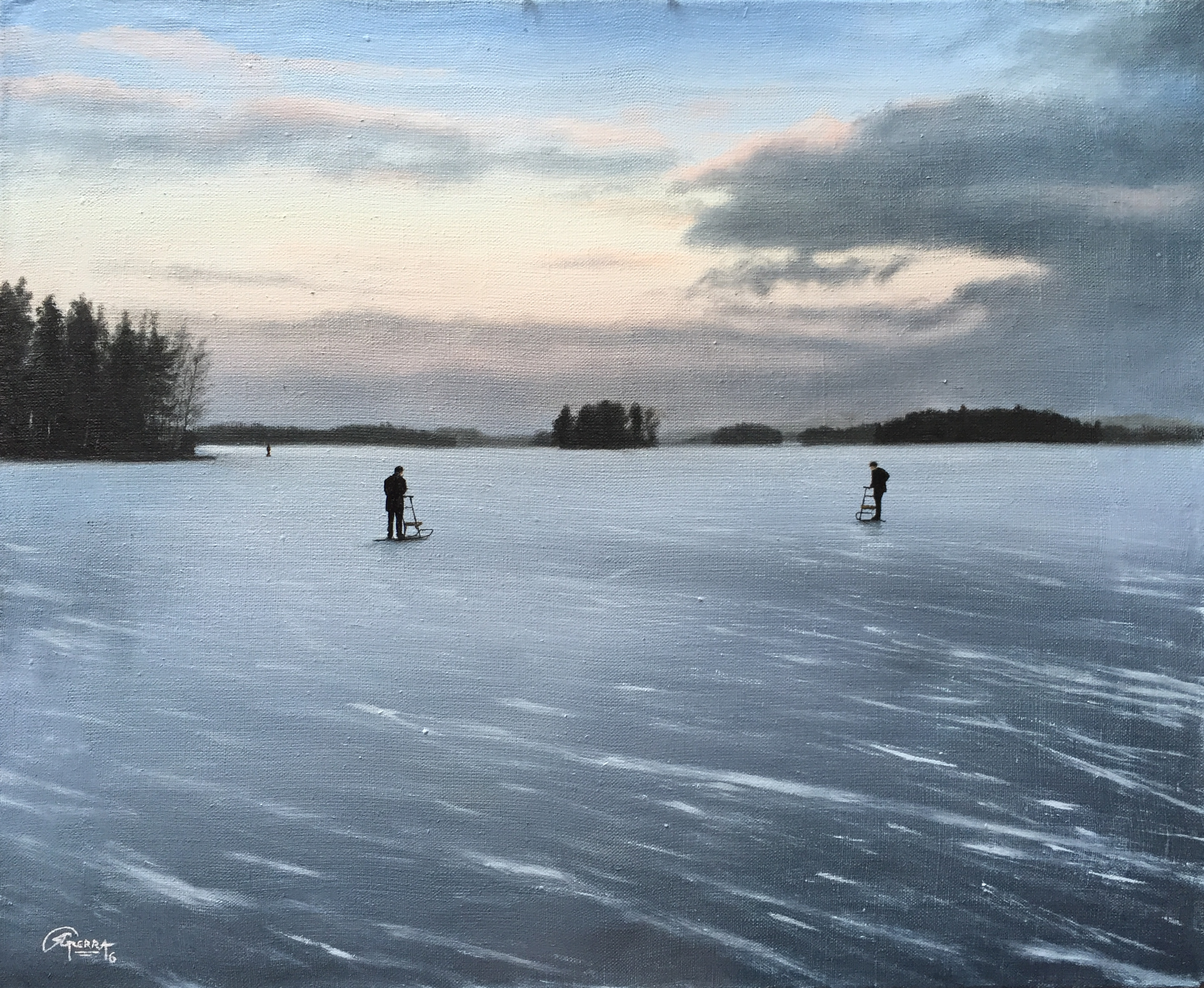 Ice Skating, Rafael Guerra Painting