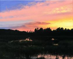 Sunset with Pink Clouds, Rafael Guerra Painting Pintura