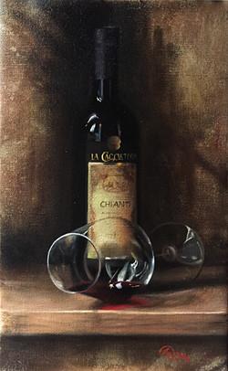 Wine Glass Study - Chianti, Rafael Guerra Painting Pintura