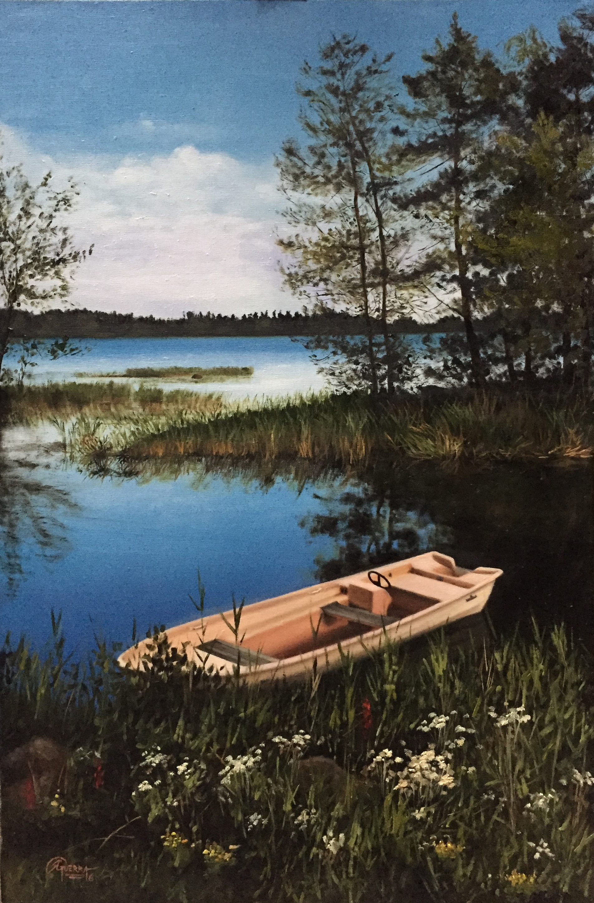 A Boat on a Lake in Finland Spring, Rafael Guerra Painting