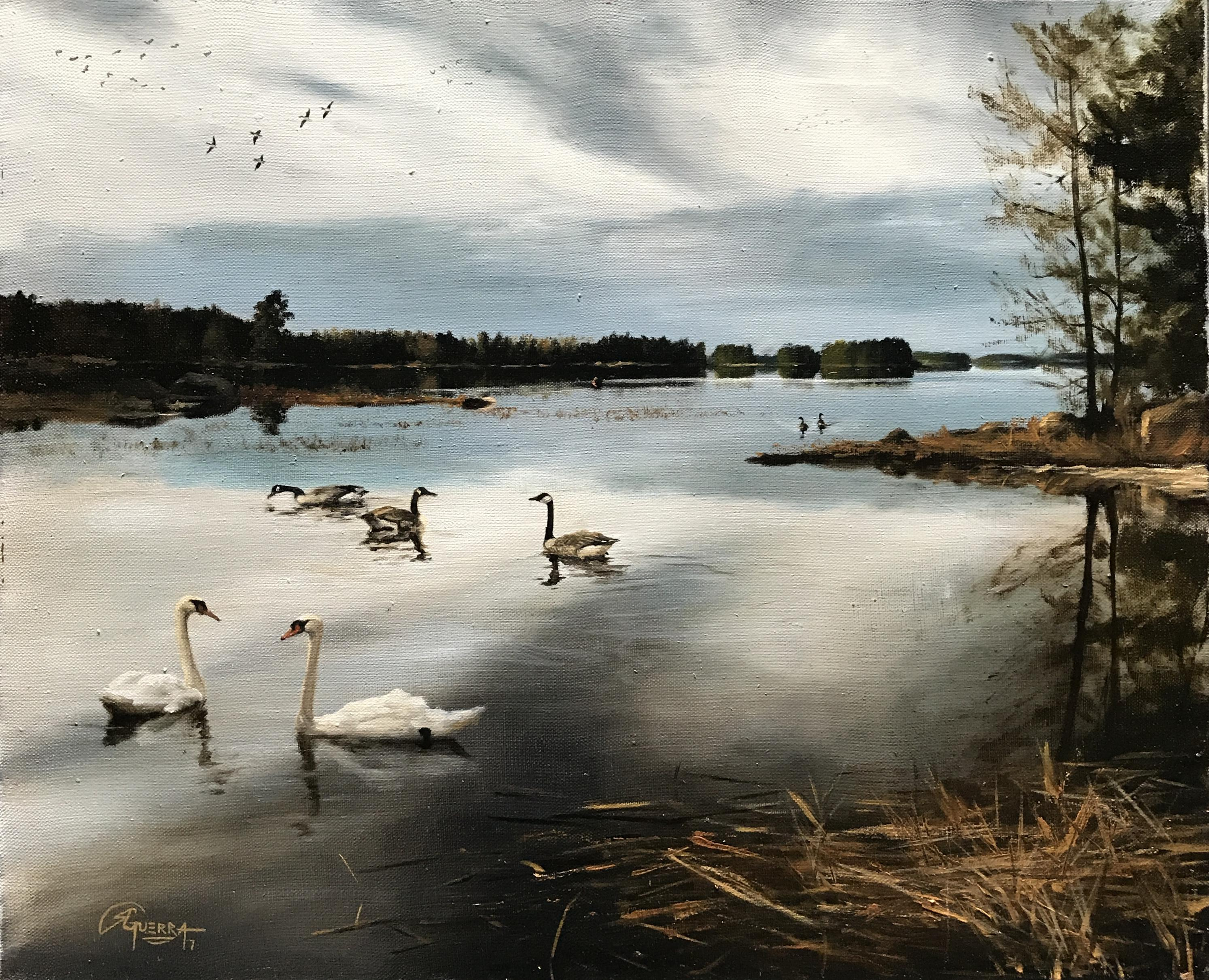 A Lake in Finland in Late Winter/Early Spring, Rafael Guerra Painting