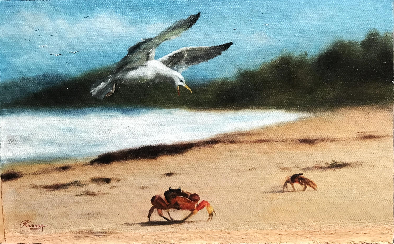 Paisagem de Praia com Gaivota e Carangueijo, Rafael Guerra Pintura