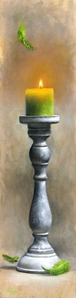 Green Candle & Falling Feathers, Rafael Guerra Painting Pintura