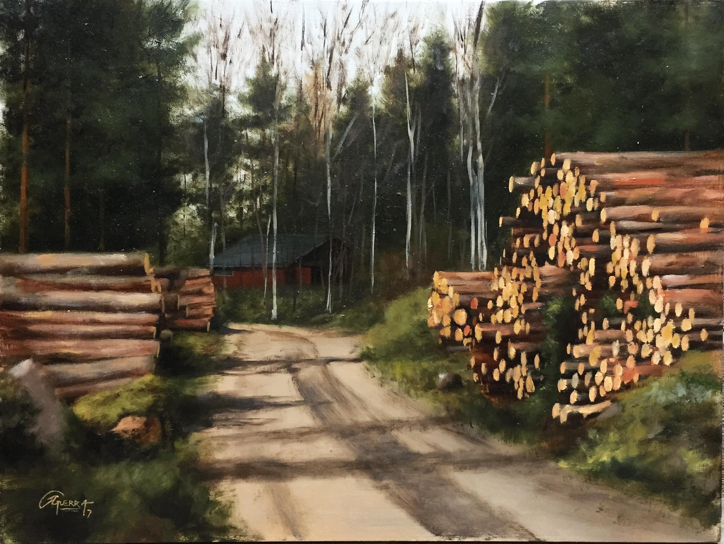 Wood Trunks on an Earth Road, Rafael Guerra Painting