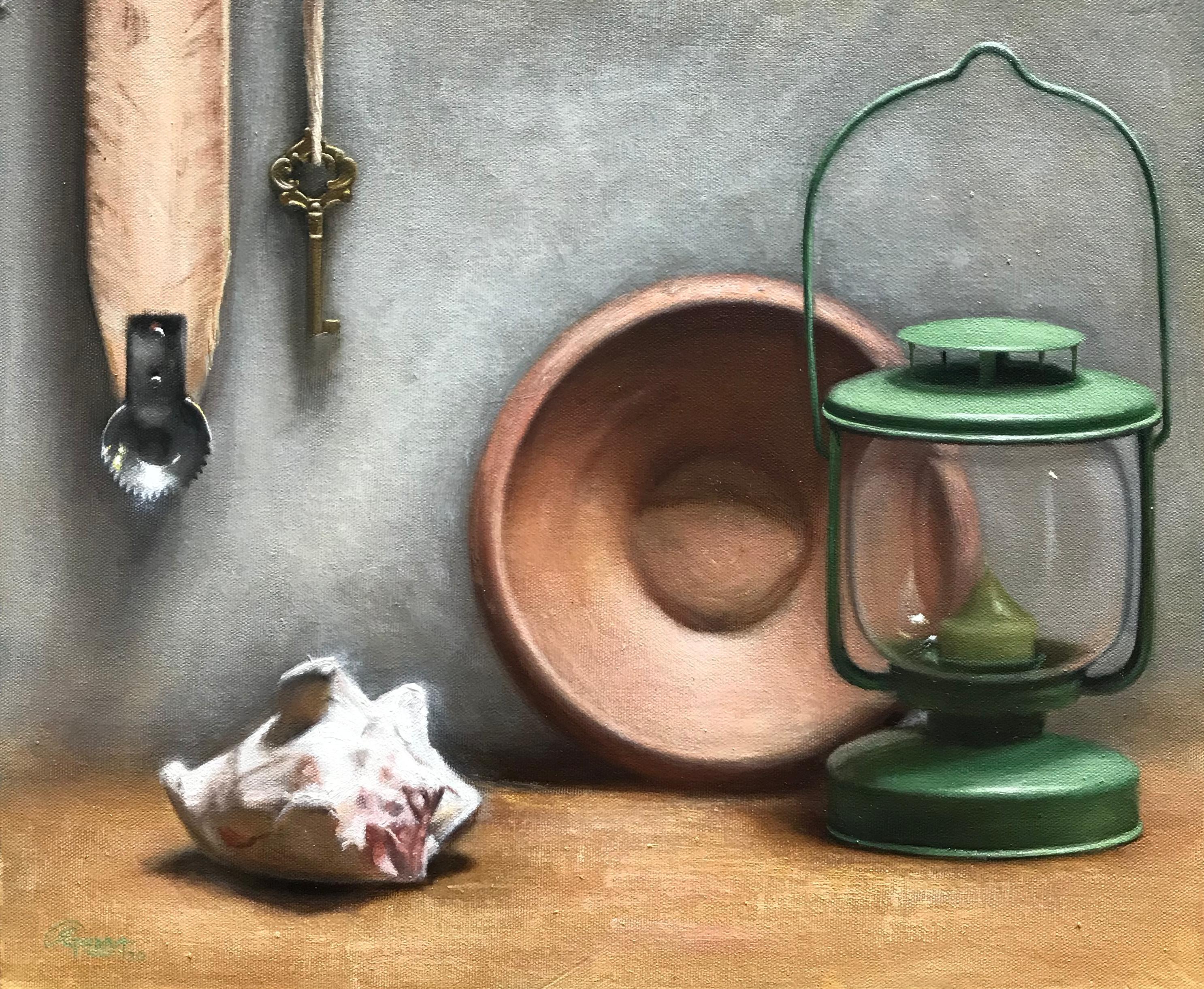 Natureza Morta com Conha e Lanterna Verde, Rafael Guerra Pintura