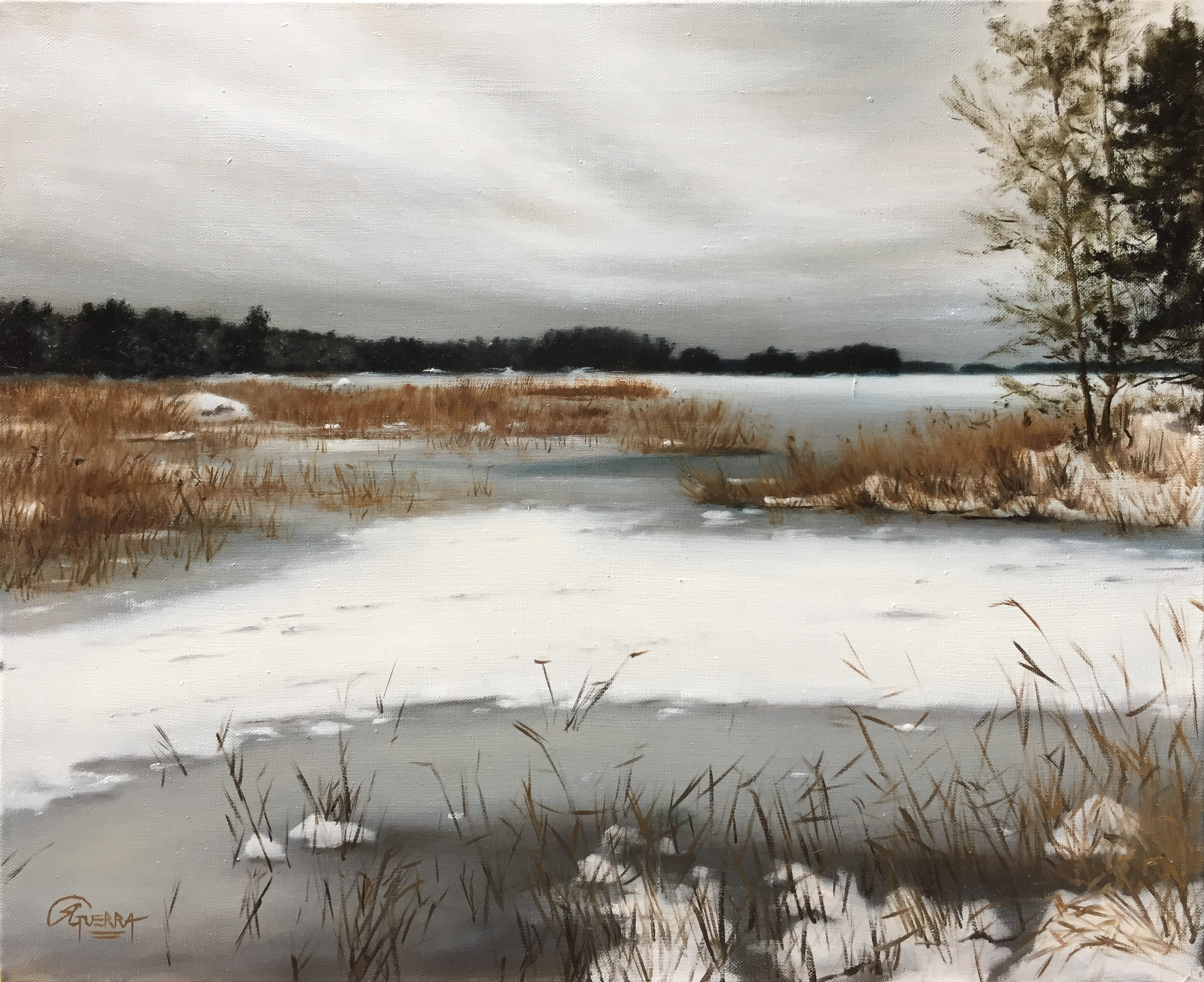 A Lake in Finland in Winter (Nov), Rafael Guerra Painting
