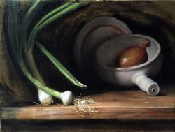 Yellow Onion, Rafael Guerra painting pintura