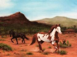Paisagem Brasileira com Cavalos, Sertão, Rafael Guerra Pintura