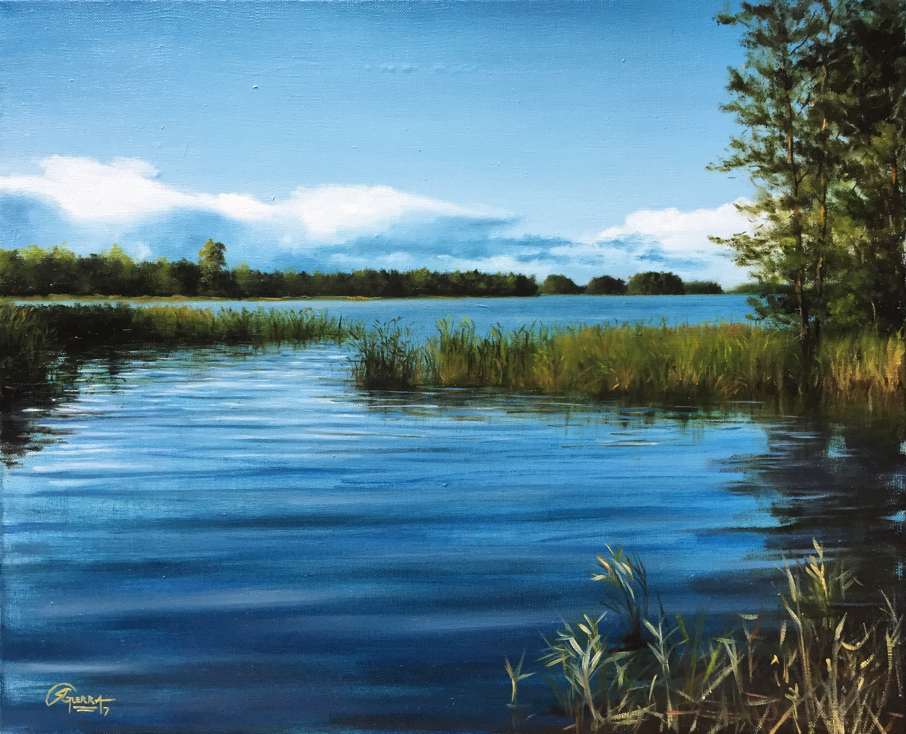 A Lake in Finland in Summer (August), Rafael Guerra Painting