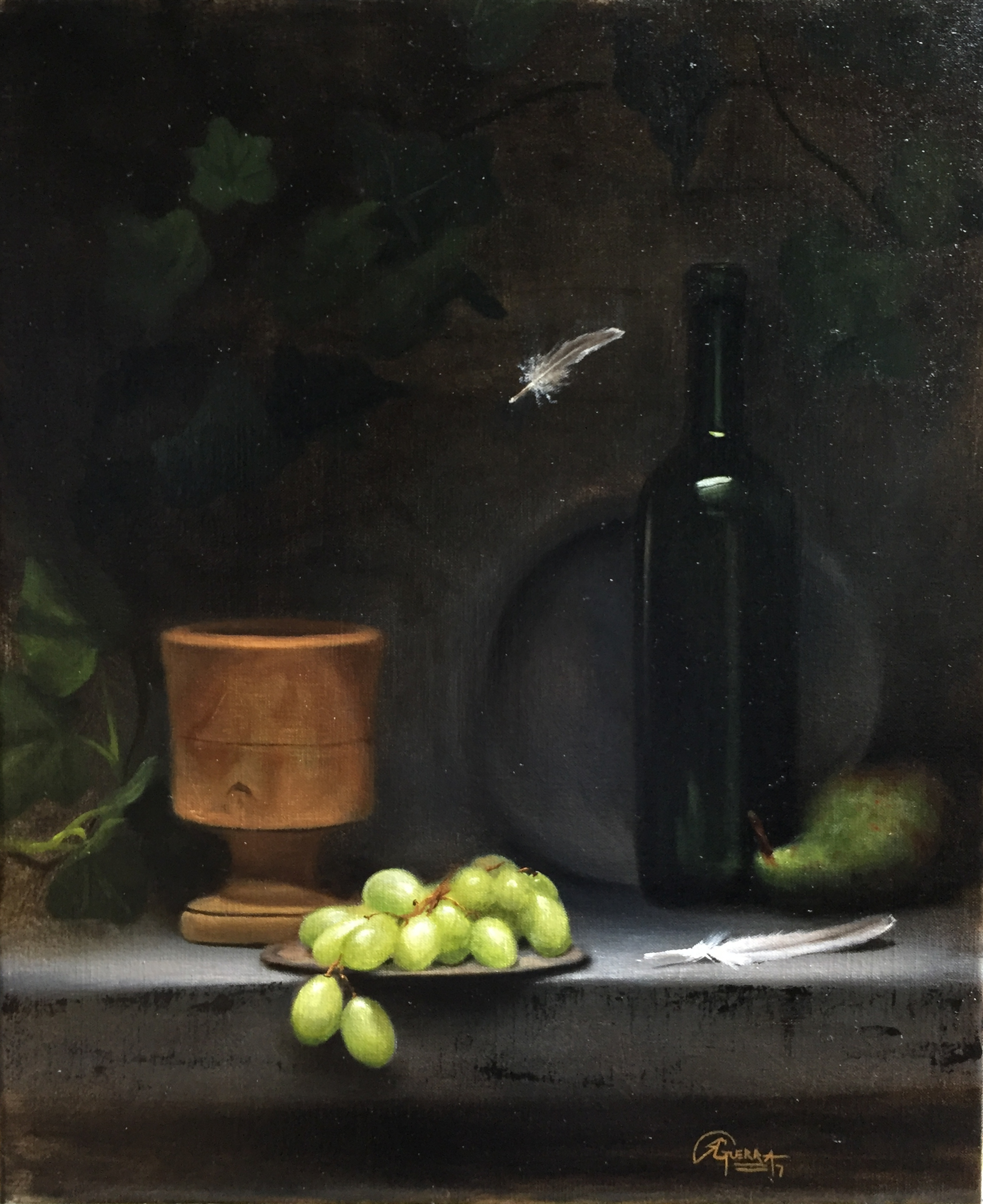 Green Grapes and Pear, Rafael Guerra Painting