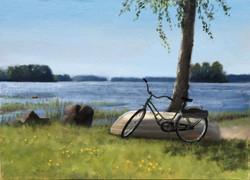 A Bicycle and a Boat by a Lake, Rafael Guerra Painting Pintura