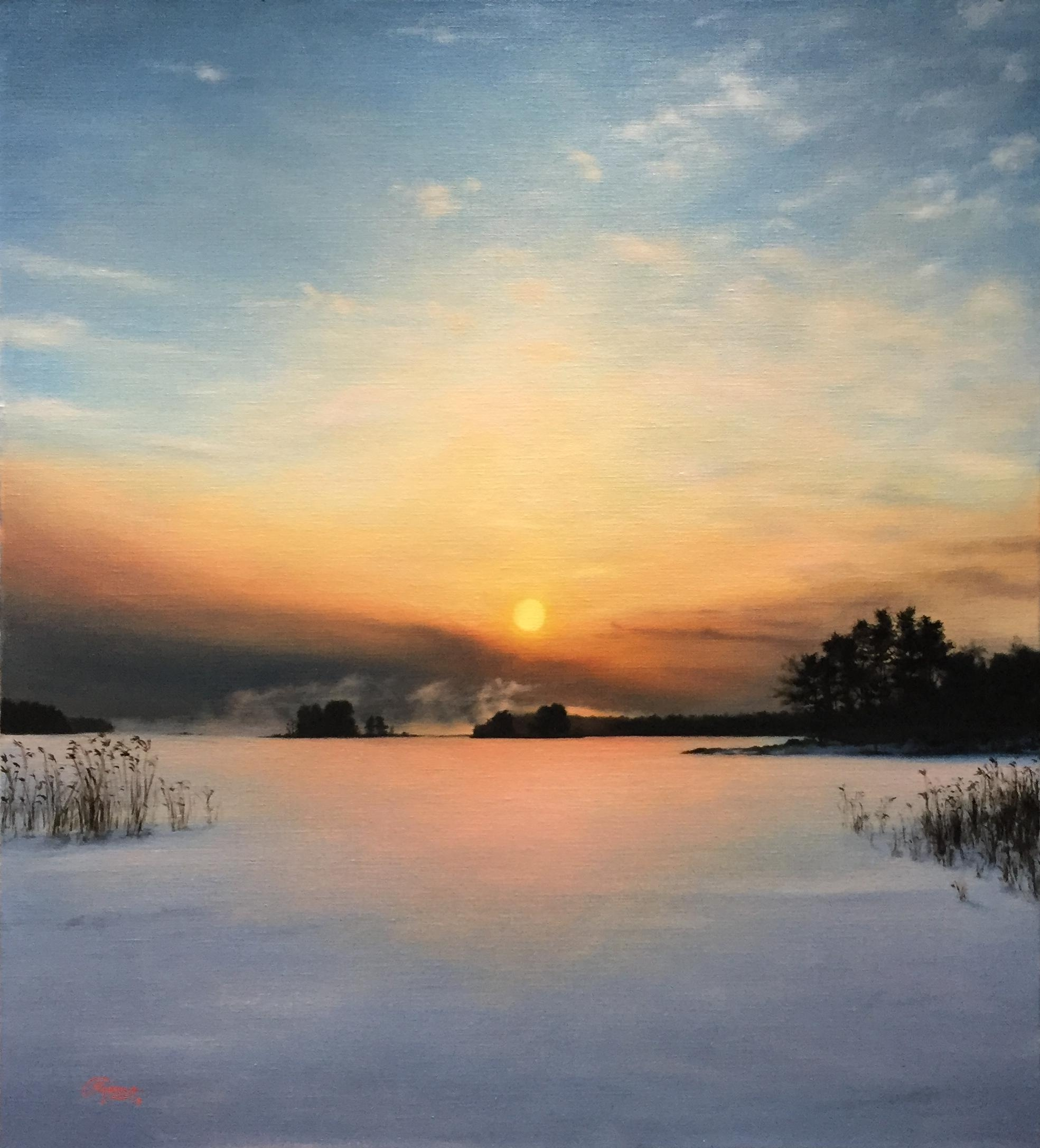 Sunset in Winter, Rafael Guerra Painting