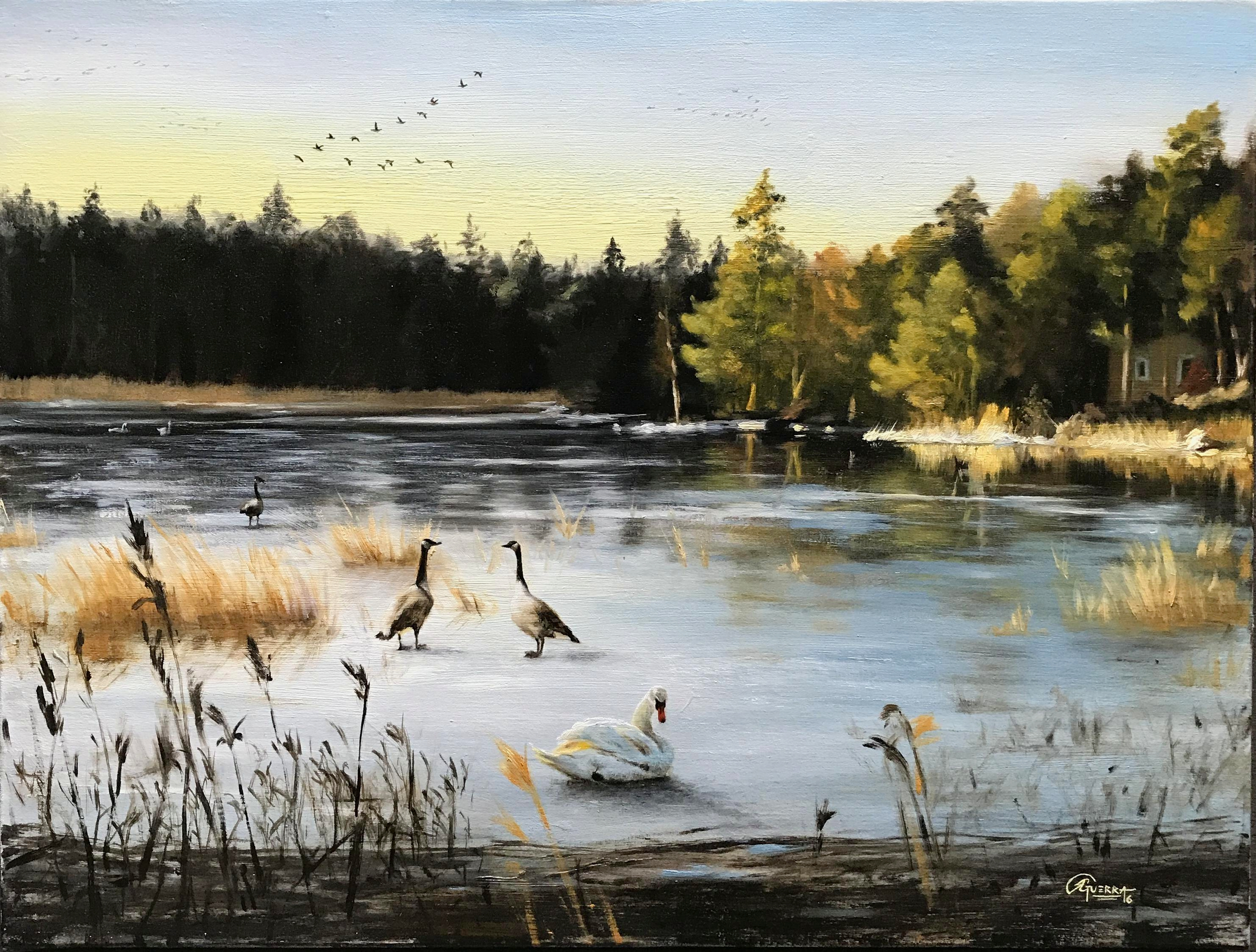 A Freezing Lake in Finland, Rafael Guerra Painting
