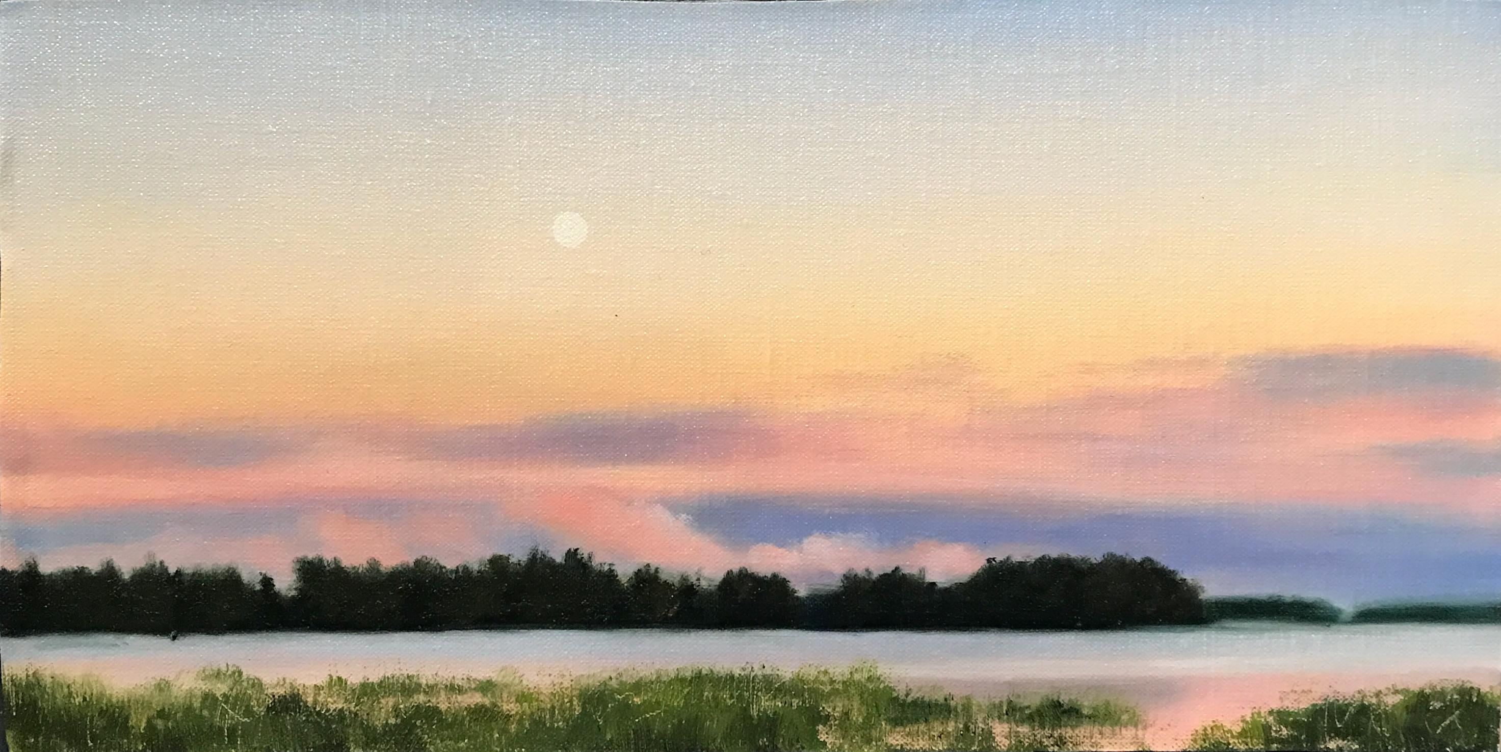 Finnish Landscape, Moon Over a Lake 1, Rafael Guerra Painting Pintura