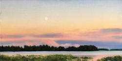 Finnish Landscape, Moon Over a Lake 1, Rafael Guerra Painting Pintura