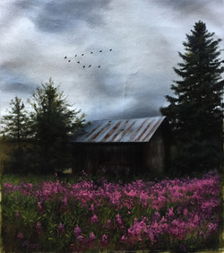 Finnish Scape on a Cloudy Day, Rafael Guerra Painting Pintura
