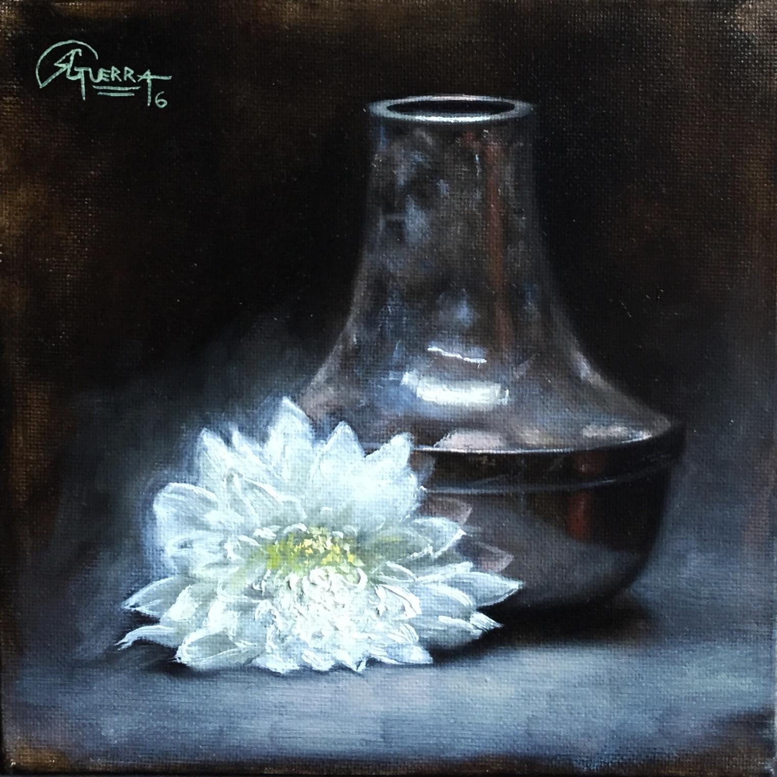Metal Vase and White Flower