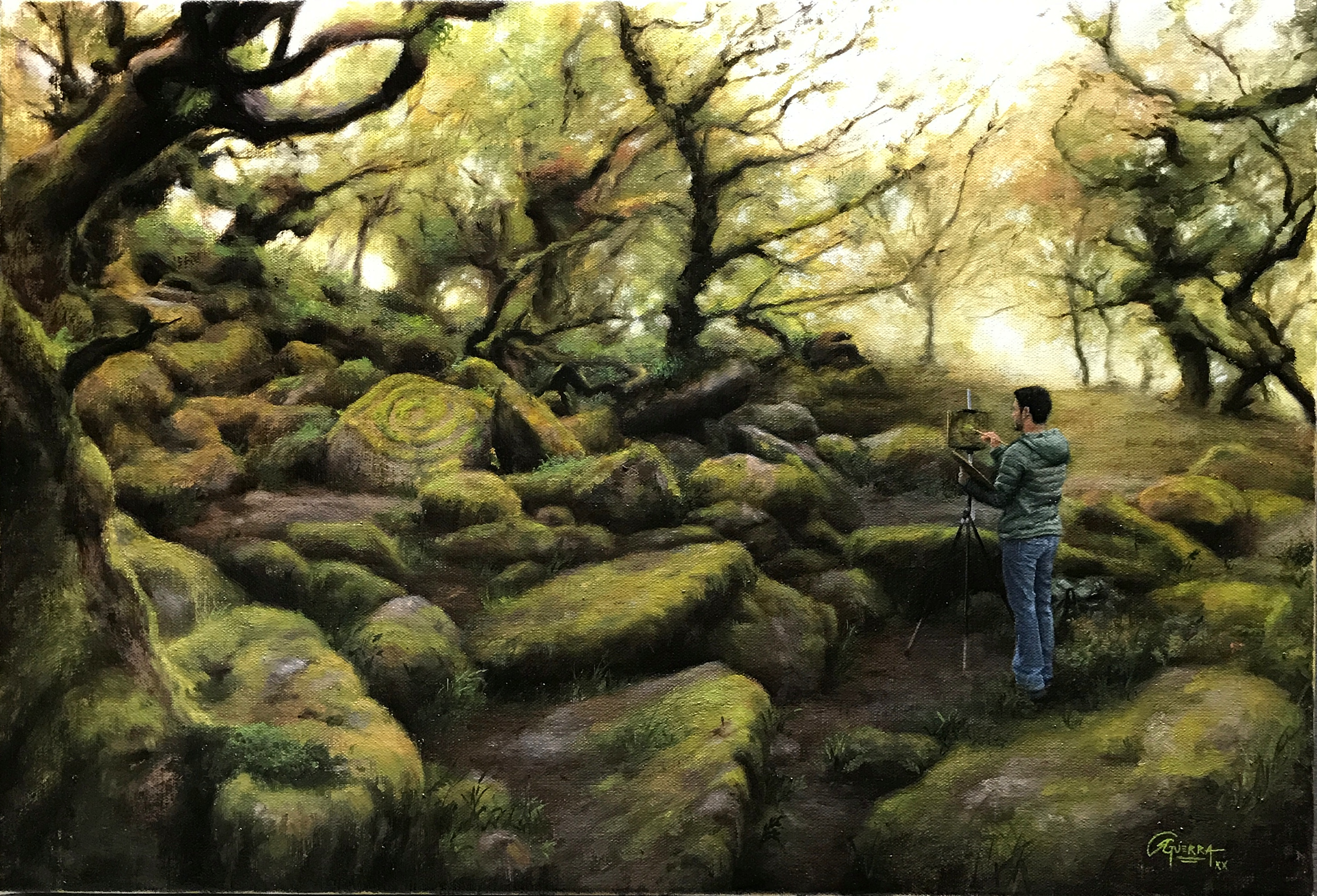 Plein Air Painting at Wistman's Wood, Rafael Guerra Painting
