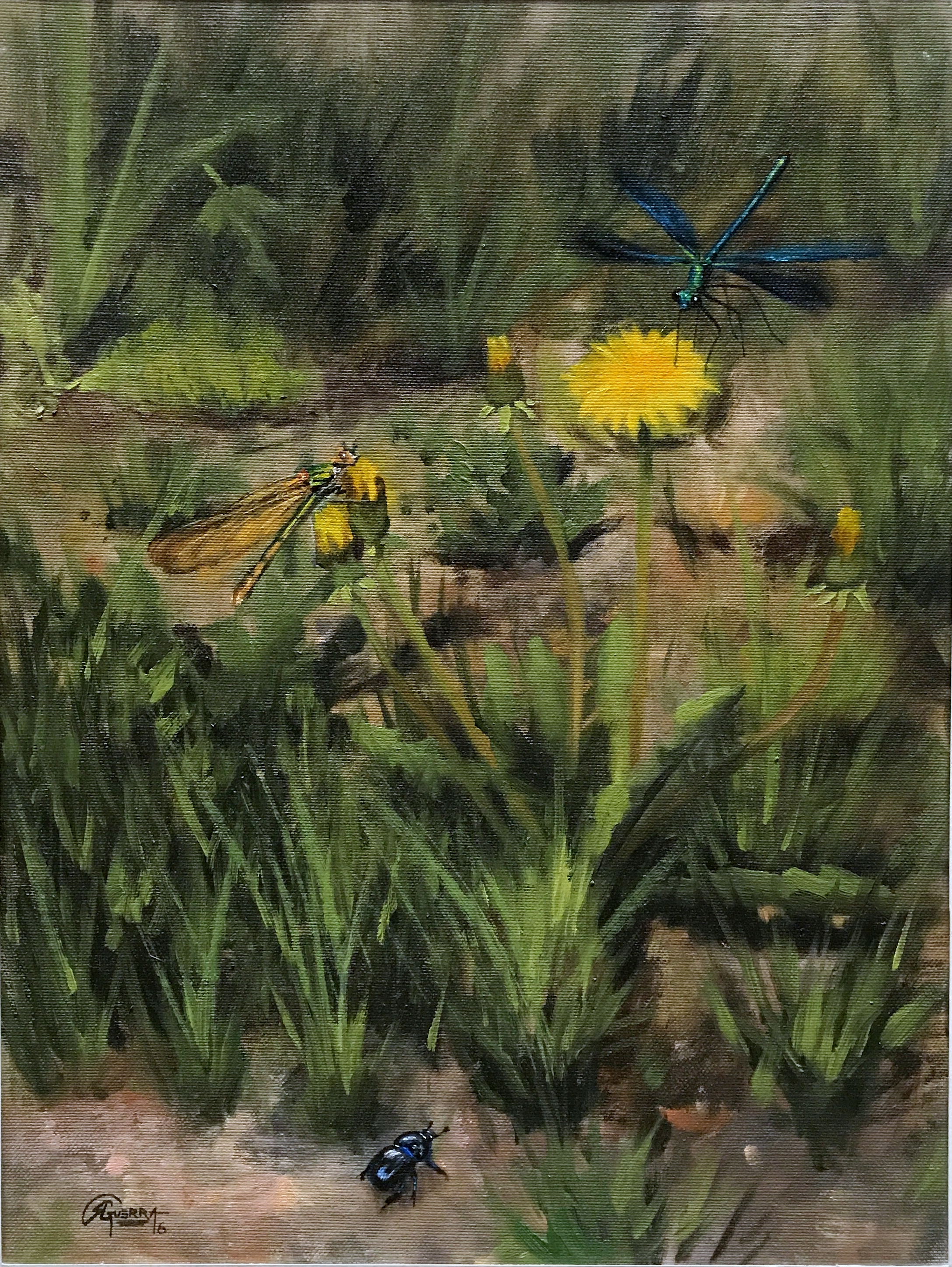Dandelions and Dragonflies, Rafael Guerra Painting