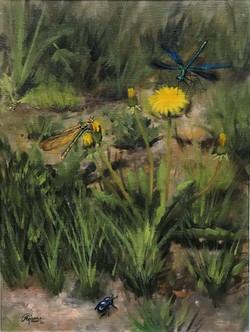 Dandelions and Dragonflies, Rafael Guerr, Rafael Guerra Painting Pintura