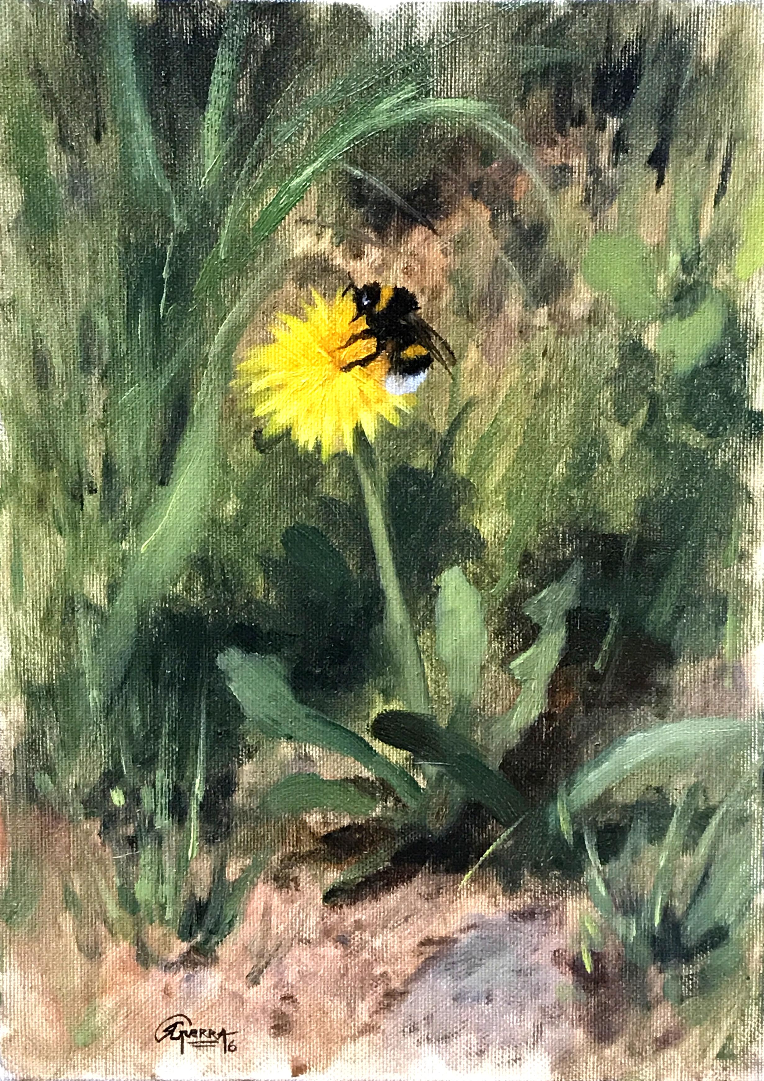 Dandelion and Bumblebee, Rafael Guerra Painting