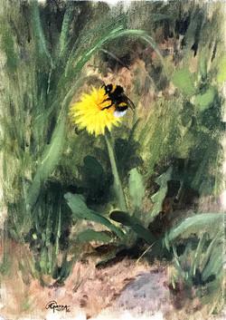Dandelion and Bumblebee, Rafael Guerra, Rafael Guerra Painting Pintura