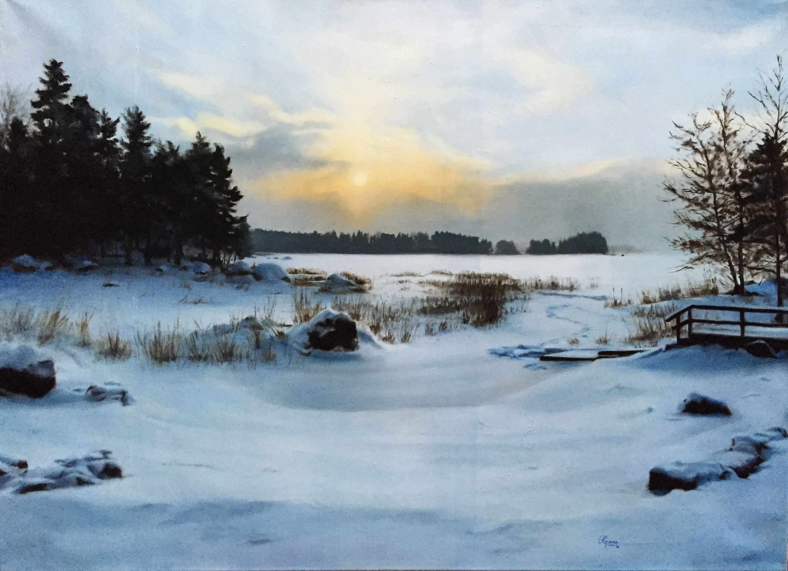 A Lake in Finland During Winter, Rafael Guerra Painting